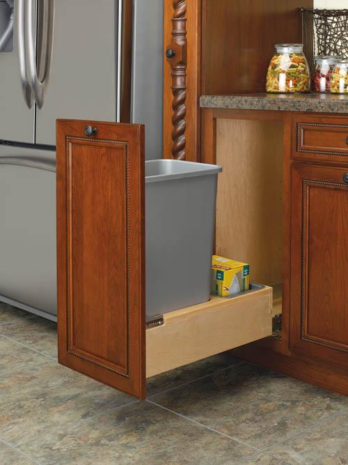 kitchen cabinet corner protectors light oak cabinets 35 qt wood base mount pull out trash