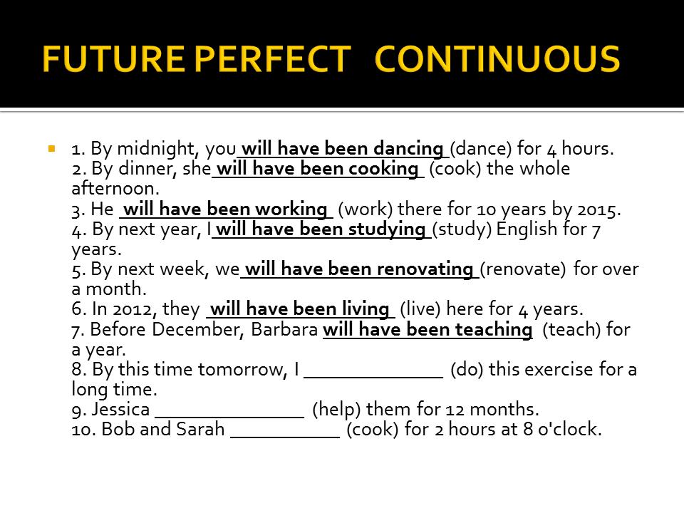 Continuous Future Exercises