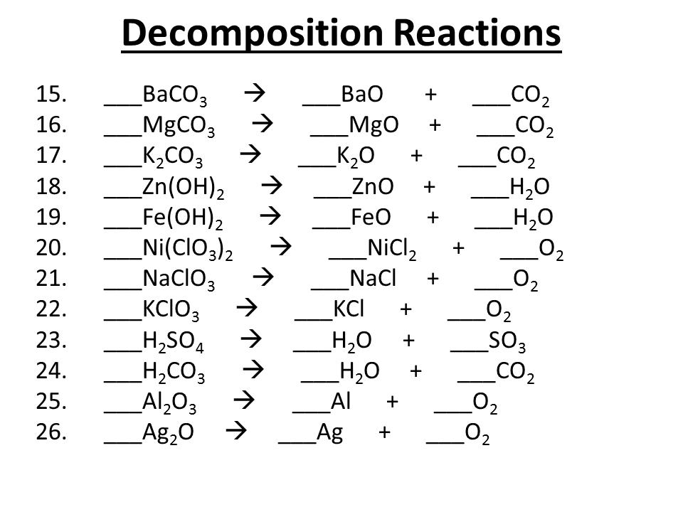 Balancing Chemical Equations Worksheet Decomposition