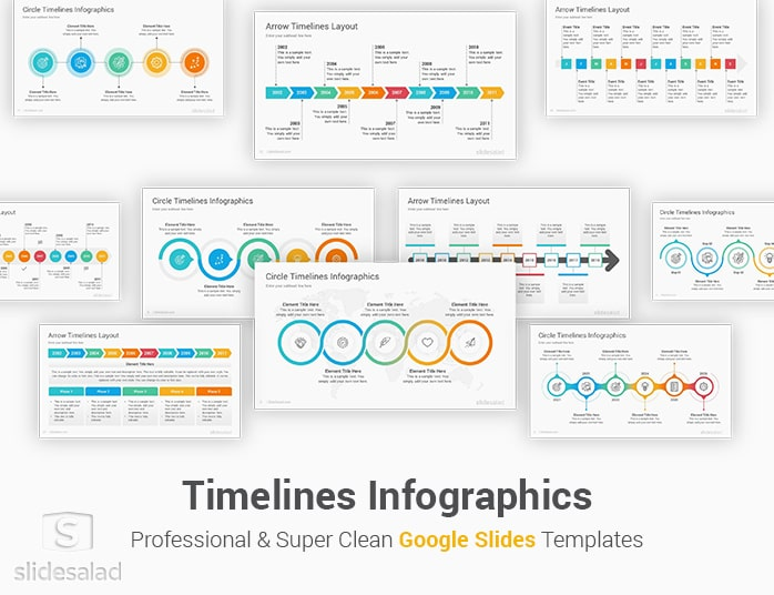 First, you can create a visual timeline using google drawings. Timelines Diagrams Google Slides Presentation Template Slidesalad