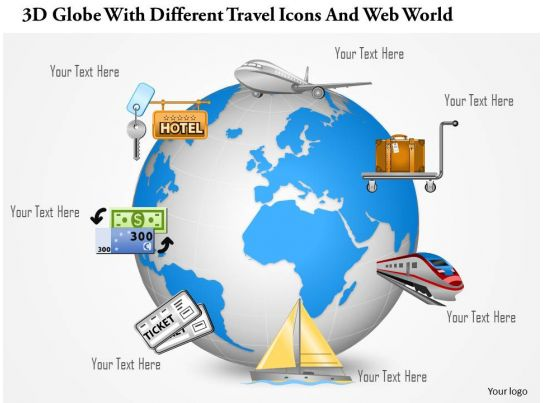 0115 3d Globe With Different Travel Icons And Web World