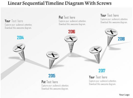 0115 Linear Sequential Timeline Diagram With Screws