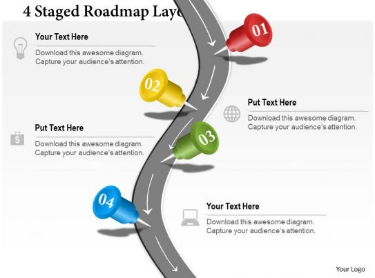 5 3 defense diagram of the tongue with labels 0314 business ppt 4 staged roadmap layout powerpoint template   presentation ...