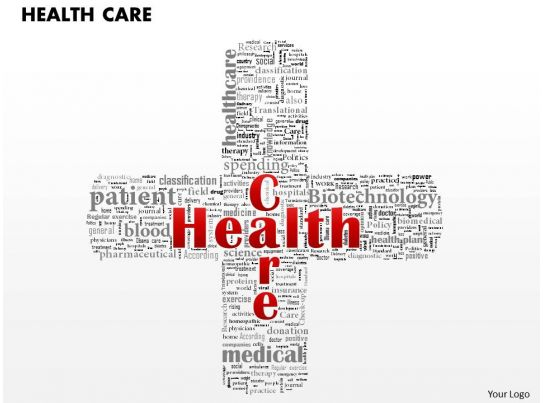 0514 Health Care Word Cloud Powerpoint Slide Template