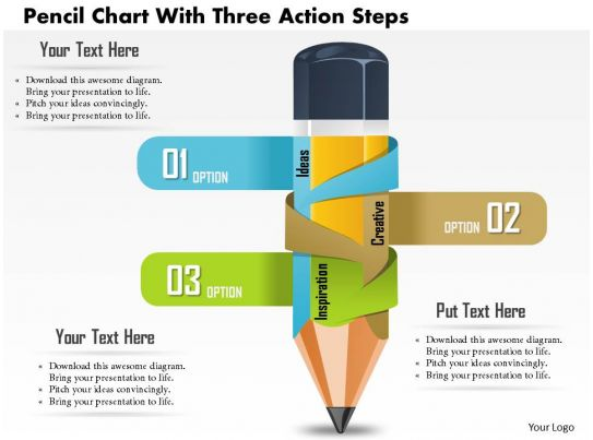 0814 Business Consulting Diagram Pencil Chart With Three