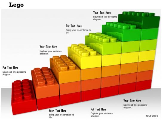 0814 Colorful Multiple Staged Lego Bar Graph For Business