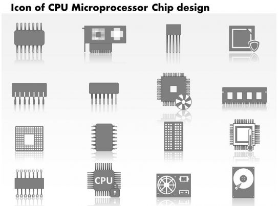 0814 Icons Of CPU Microprocessor Chip Design With
