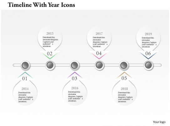 0914 Business Plan Timeline With Year Icons Info Graphic