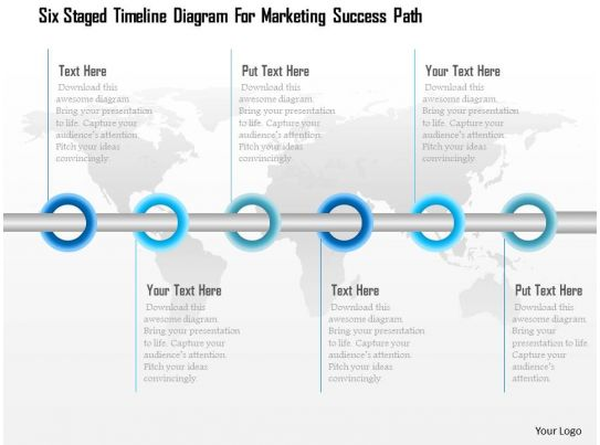 1114 Six Staged Timeline Diagram For Marketing Success Path Powerpoint Template Presentation