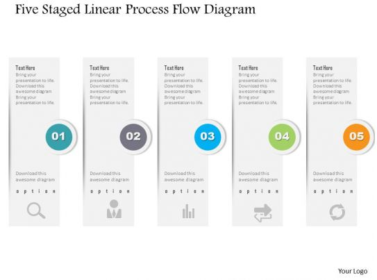 1214 Five Staged Linear Process Flow Diagram Powerpoint