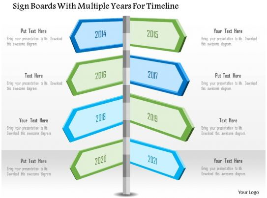 1214 Sign Boards With Multiple Years For Timeline