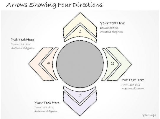 2502 Business Ppt Diagram Arrows Showing Four Directions