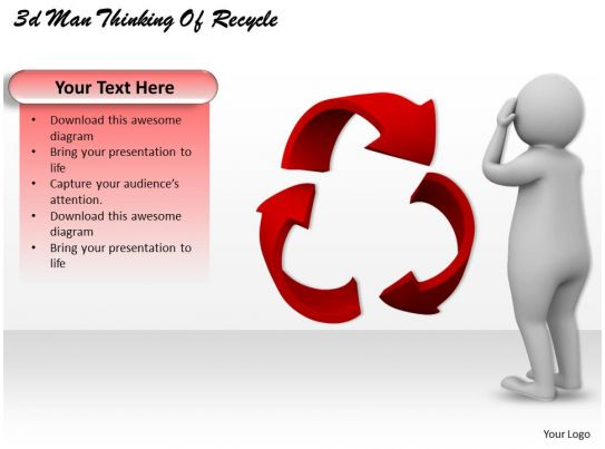 3d Man Thinking Of Recycle Ppt Graphics Icons Powerpoint