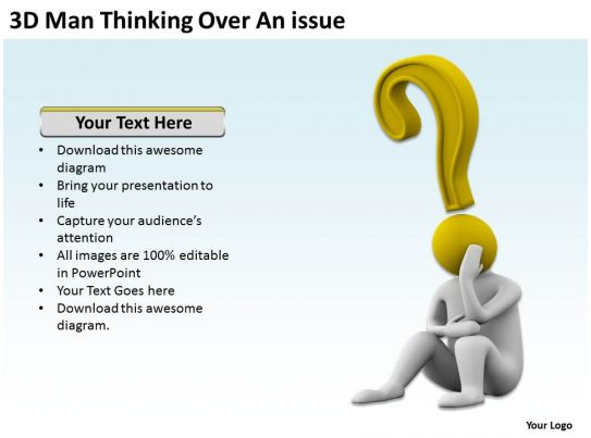 3D Man Thinking Over An Issue Ppt Graphics Icons