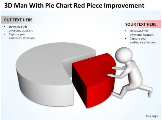 3d Man With Pie Chart Red Piece Improvement Ppt Graphics