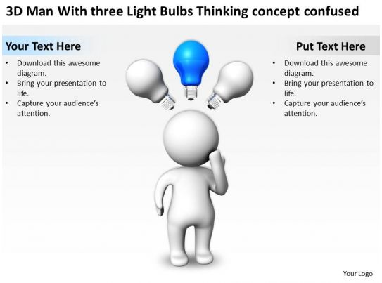 3D Man With three Light Bulbs Thinking concept confused