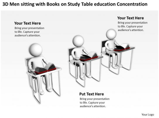 3D Men sitting with Books on Study Table education