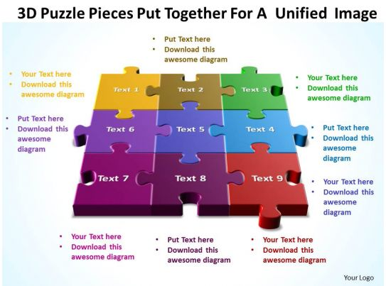 3D Puzzle Pieces Put Together For A Unified Image