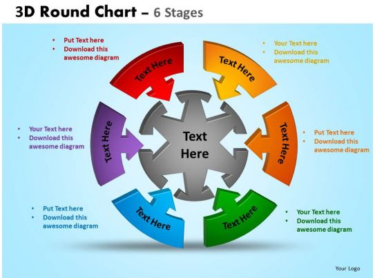 3D Round Chart 6 Stages Powerpoint Slides And Ppt