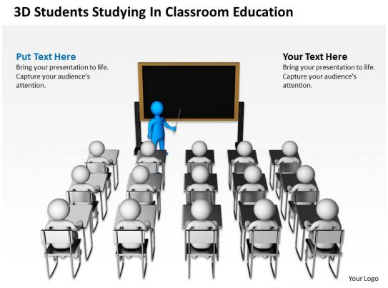 3D Students Studying In Classroom Education Ppt Graphics Icons