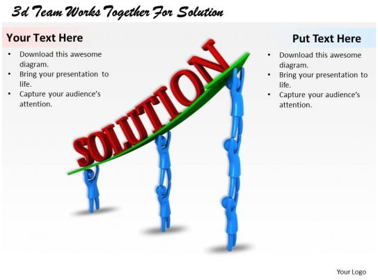 3d Team Works Together For Solution Ppt Graphics Icons