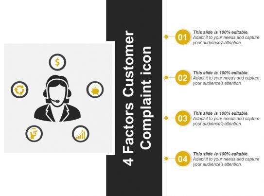 4 Factors Customer Complaint Icon Powerpoint Templates
