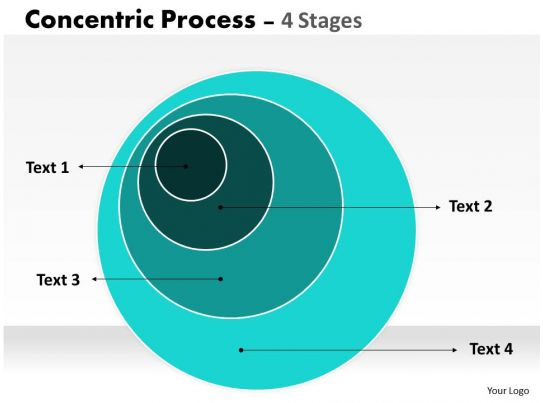 4 Staged Concentric Circle Diagram PowerPoint Presentation Designs Slide PPT Graphics