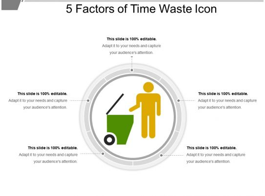 5 Factors Of Time Waste Icon Ppt Slides Download