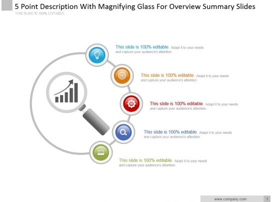 5 Point Description With Magnifying Glass For Overview