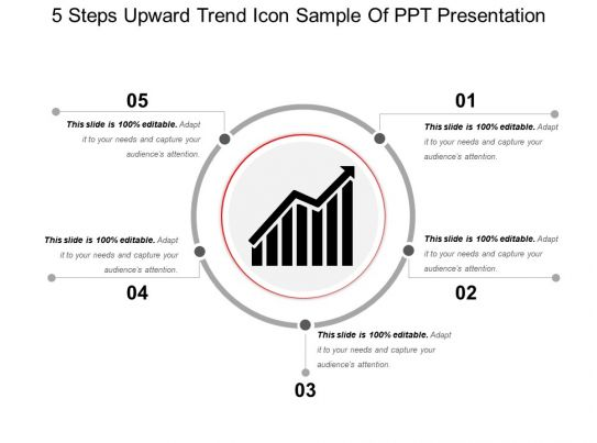 5 Steps Upward Trend Icon Sample Of Ppt Presentation