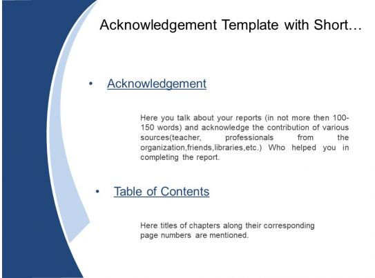 Acknowledgement Template With Short Briefing And Table Of