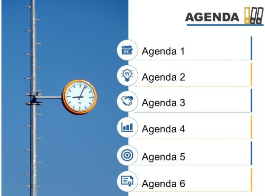 Agenda Template Slide With Icons Image Background