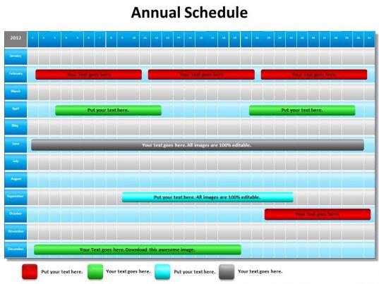 Annual Schedule Shown By Gantt Chart Powerpoint Diagram