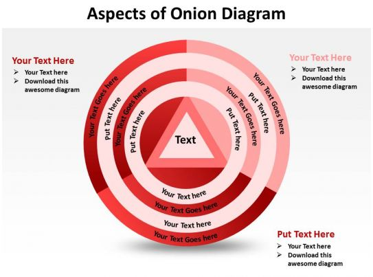 Aspects Of Onion Diagram Shown By Concentric Circles And Triangle Powerpoint Templates 0712