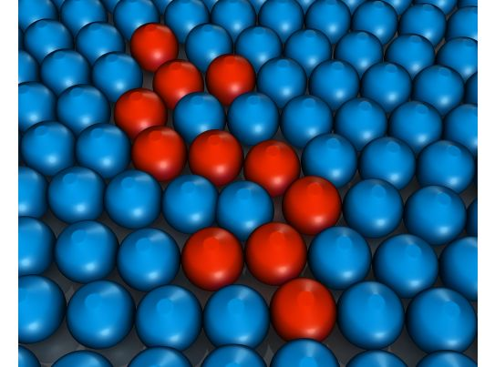 Blue Colored Metal Balls With Few Red Balls In Between Stock Photo PowerPoint Presentation