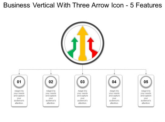 Business Vertical With Three Arrow Icon 5 Features