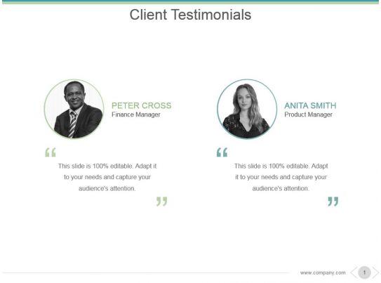 Client Testimonials Powerpoint Presentation Examples