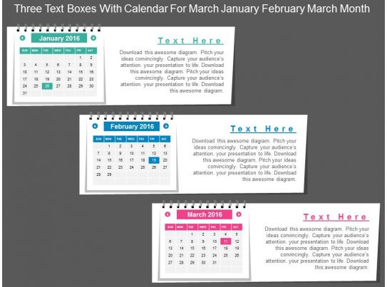 Cz Three Text Boxes With Calendar For March January