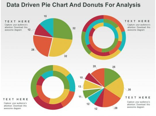 Data Driven Pie Chart And Donuts For Analysis Powerpoint