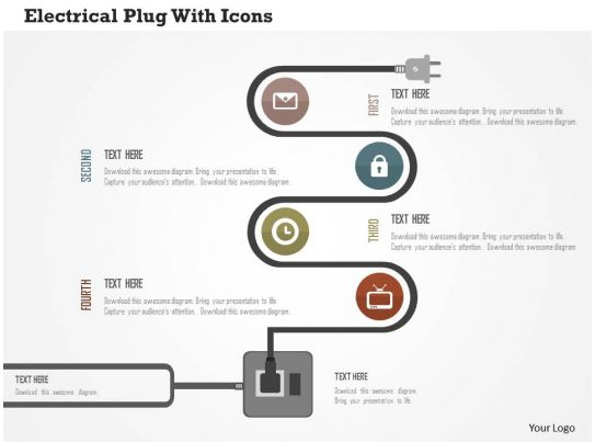 Electrical Plug With Icons Flat Powerpoint Design