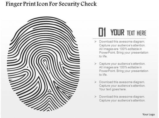 Finger Print Icon For Security Check Ppt Slides
