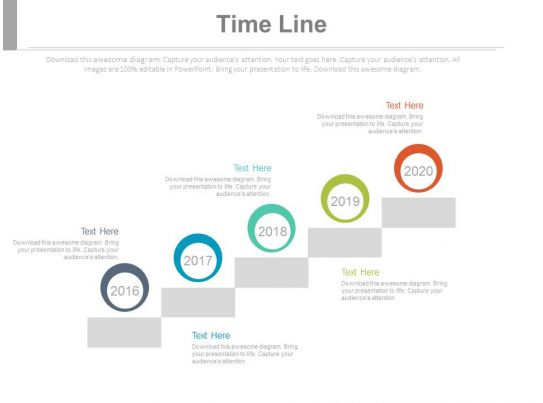 Five Staged Company History Timeline Powerpoint Slides