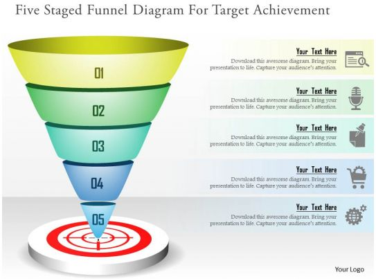 Five Staged Funnel Diagram For Target Achievement