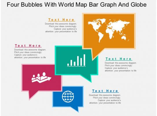 Four Speech Bubbles With Map Bar Graph And Globe Icons Ppt