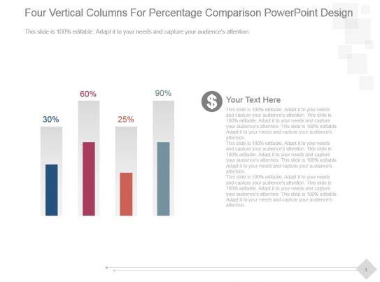 Four Vertical Columns For Percentage Comparison Powerpoint