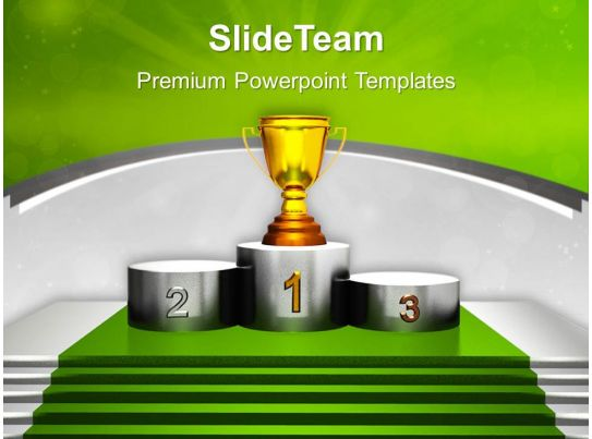 Golden Trophy On Winner Podium Powerpoint Templates Ppt Themes And Graphics 0313 PowerPoint