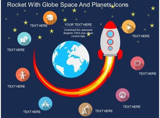 Gq Rocket With Globe Space And Planets Icons Flat