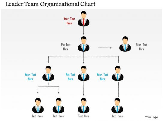 Leader Team Organizational Chart Flat Powerpoint Design