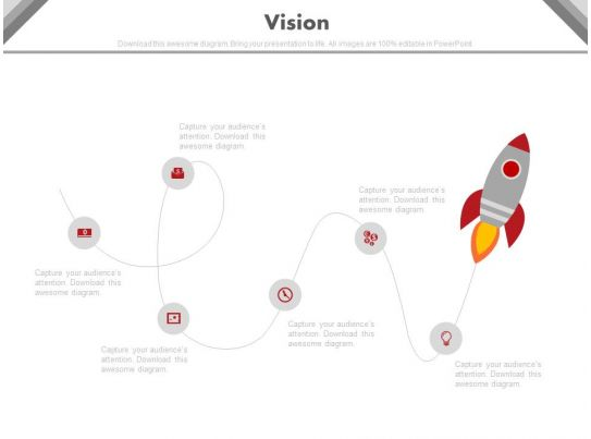 Linear Timeline With Rocket And Icons For Business Vision