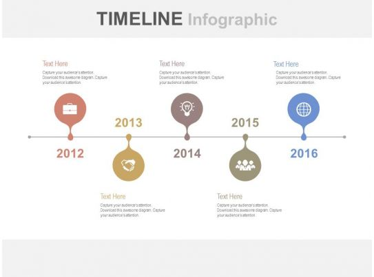 Linear Year Based Timeline For Business Growth Powerpoint